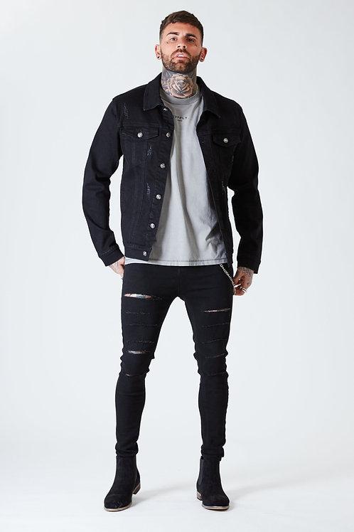 Distressed Denim Jacket - Black