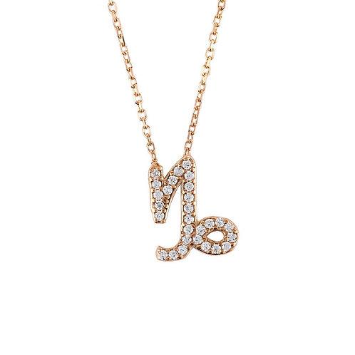 Zodiac Star Sign Pendant Necklace Rose Gold Capricorn