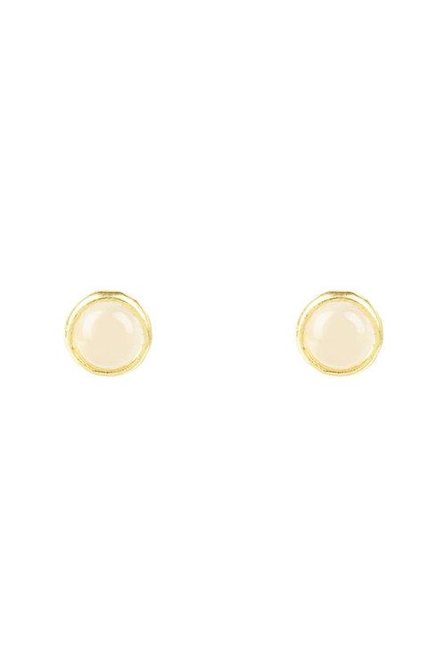 Petite Stud Earring Gold Rose Quartz