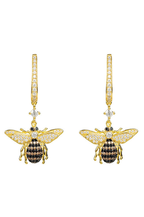 Honey Bee Drop Earring Gold