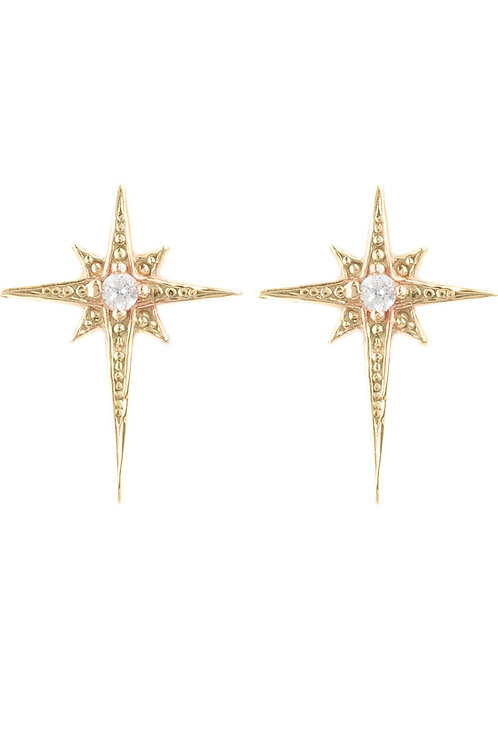 Mini Star Burst Small Stud Earrings Rosegold