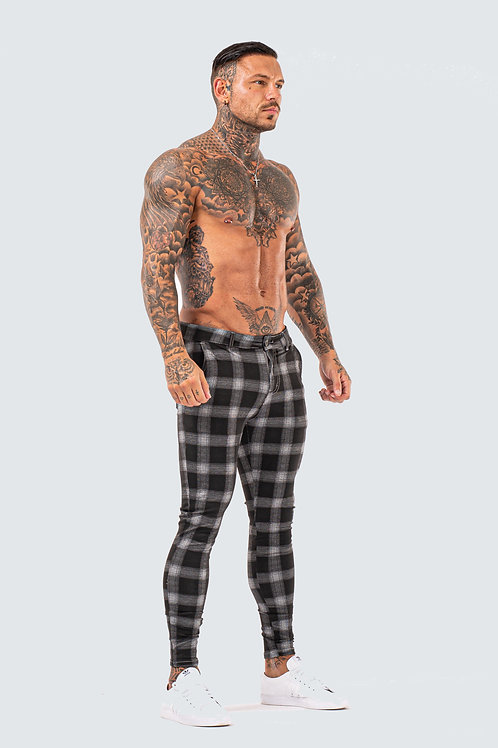 Skinny Check Trousers - Black Ash