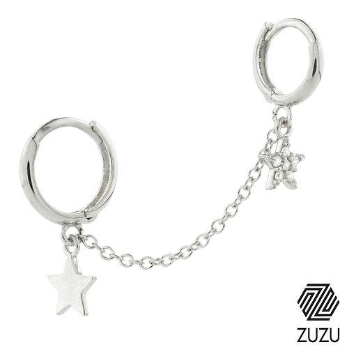 Silver Double Piercing Star Huggie Earring