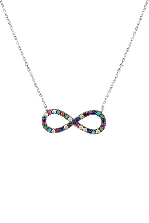 Infinity Eternity Multi Coloured Necklace Silver