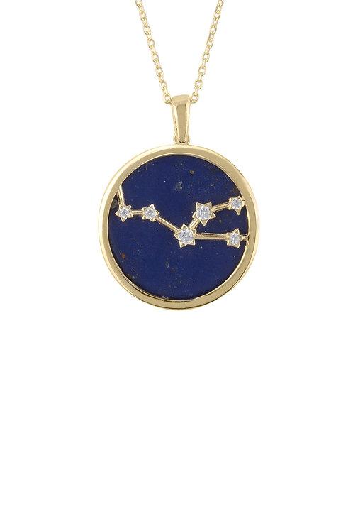 Zodiac Lapis Lazuli Gemstone Star Constellation Pendant Necklace Gold Taurus