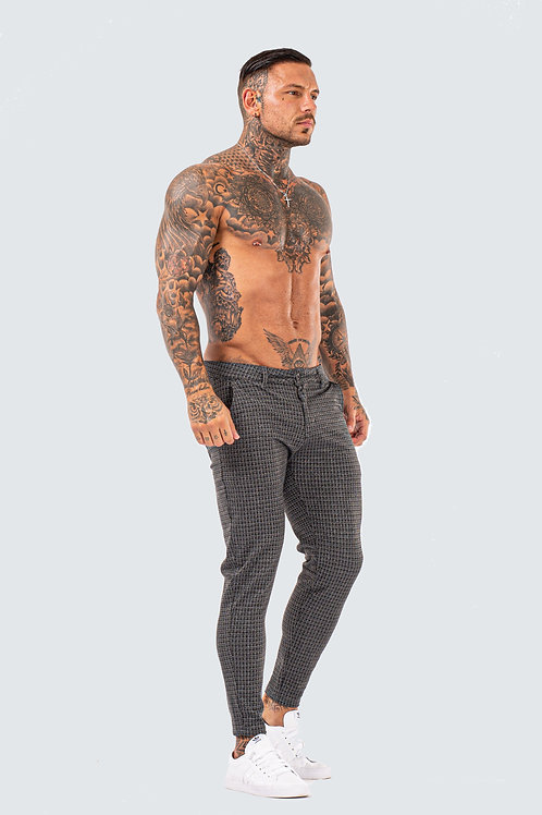 Luxe Skinny Check Trousers - Dark Grey