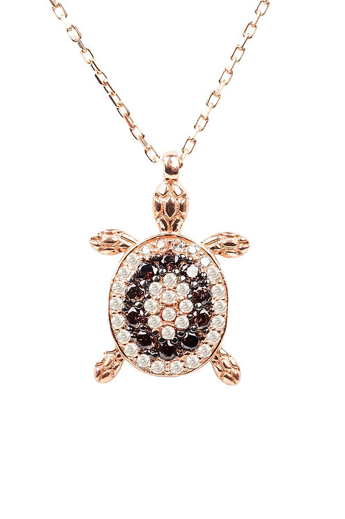 Turtle Chocolate Pendant Necklace Pink Rosegold