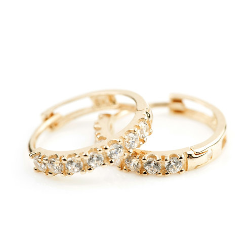 9ct Gold Pave Crystal 12mm Huggie Earring