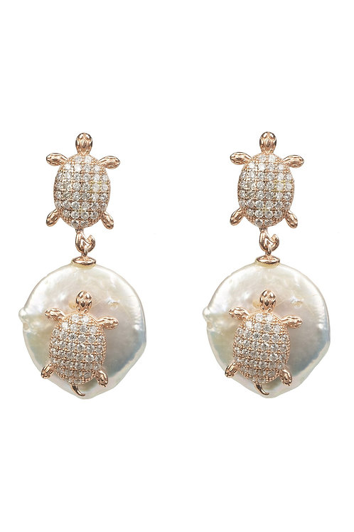 Turtle Mini Coin Pearl Drop Earring Rose Gold