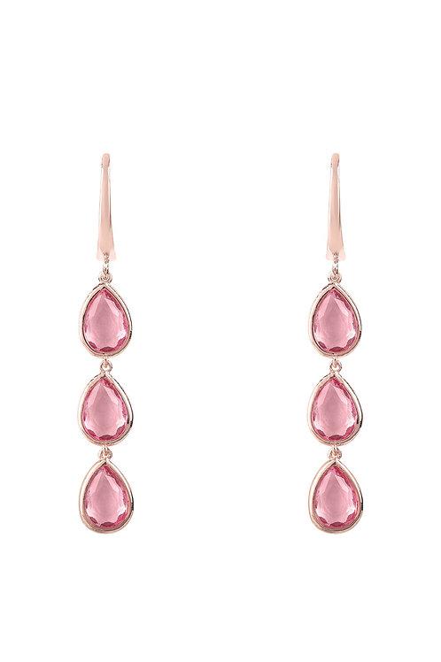 Sorrento Triple Drop Earring Rosegold Pink Tourmaline