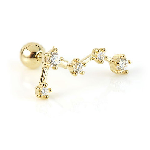 9ct Gold Five Gem Constellation Cartilage Bar