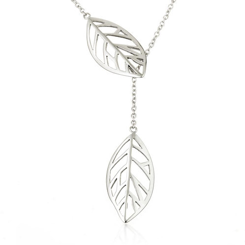 Steel Thread Through Leaf Lariat Necklace