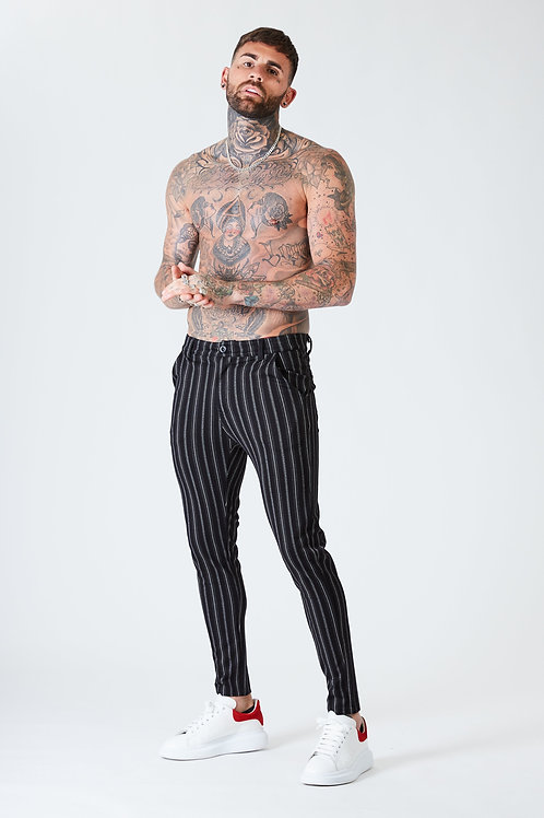 Luxe Skinny Pin Stripe Trousers - Black