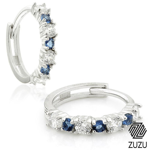 Silver CZ & Sapphire Blue Cartilage Huggie Earrings