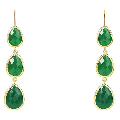 Triple Drop Earring Green Onyx Gold
