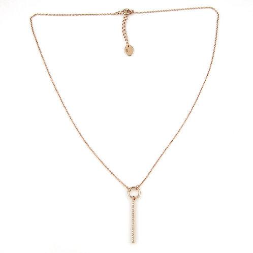 Rose Gold Crystal Bar Pendant Necklace
