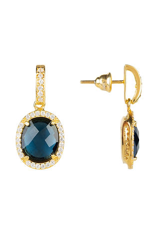 Beatrice Oval Gemstone Drop Earrings Gold Sapphire Hydro