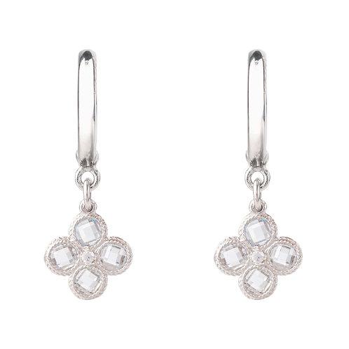 Flower Clover Small Drop Earrings Silver