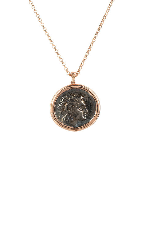 Roman Coin Oxidised Pendant Necklace Rose Gold