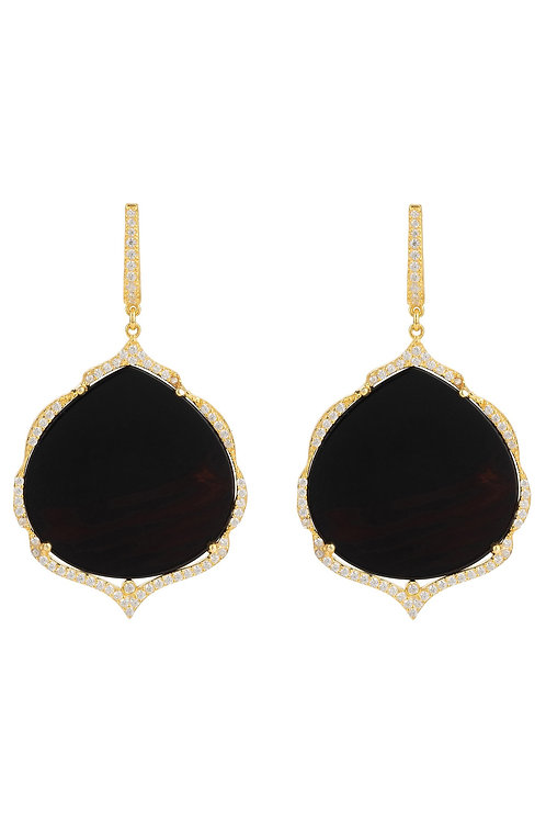 Antoinette Earrings Gold Black Onyx