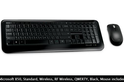 Microsoft 850, Standard, Wireless, RF Wireless, QWERTY, Black, Mouse included