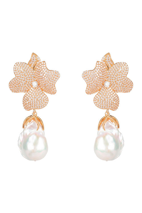 Baroque Pearl White Flower  Drop Earring Rosegold