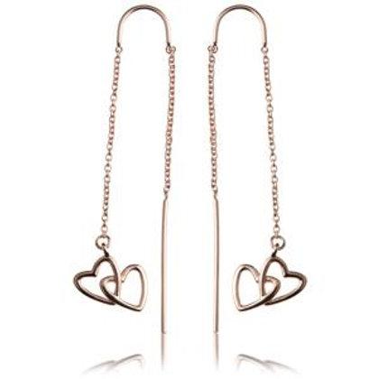 Rose Gold Linked Hearts Threader Earrings