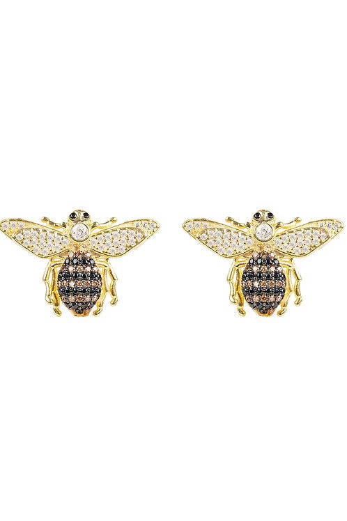 Honey Bee Stud Earrings Gold