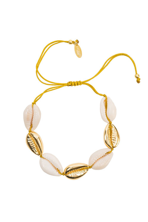 Cowrie Multi Shell Macrame Bracelet Gold