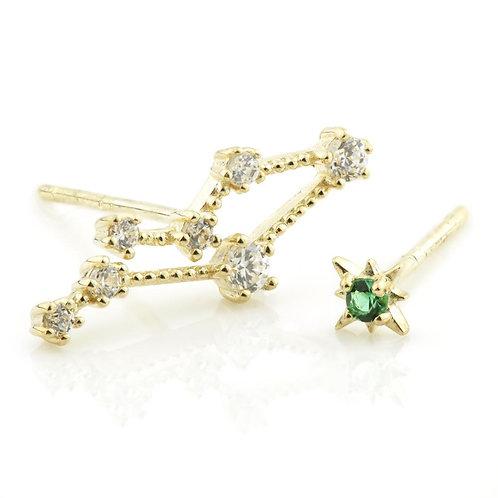 9ct Gold Gem Constellation Zodiac Earrings - Gemini