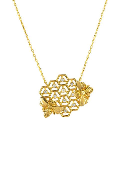 Queen Bee Honey Comb Necklace Gold