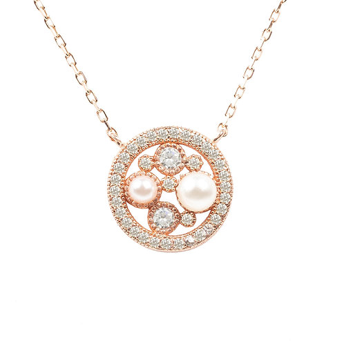 Lulu White Pearl Rosegold Pendant Necklace