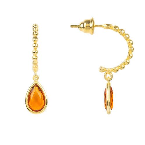 Palermo Beaded Hoop Gemstone Drop Earring Citrine Gold