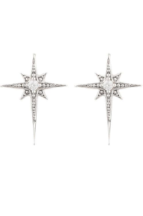 Mini Star Burst Small Stud Earrings Silver