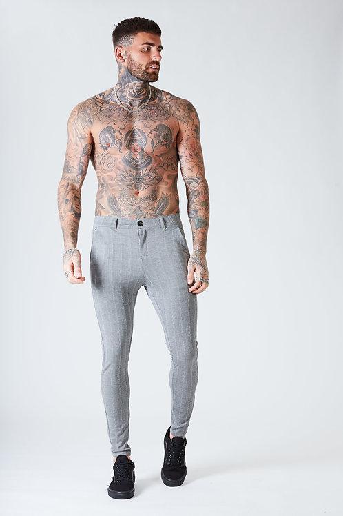 Luxe Skinny Pin Stripe Trousers - Grey