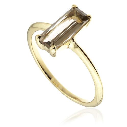 Smokey Quartz Gold Rectangle Ring