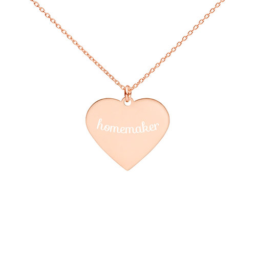 Homemaker Engraved Heart Necklace