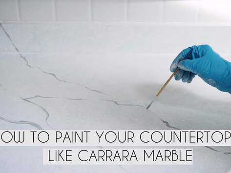 How To Paint Kitchen Countertops Like Carrara Marble (+ VIDEO)