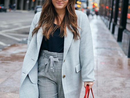 Gray Coat with a Red Tote