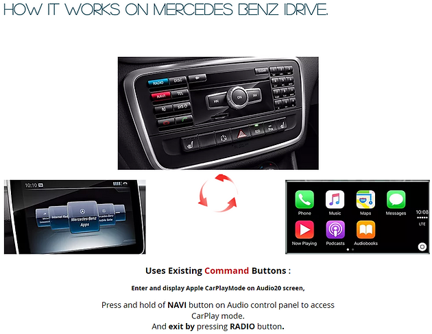 Apple CarPlay for 2016 and 2017 Mercedes Benz, with straight
