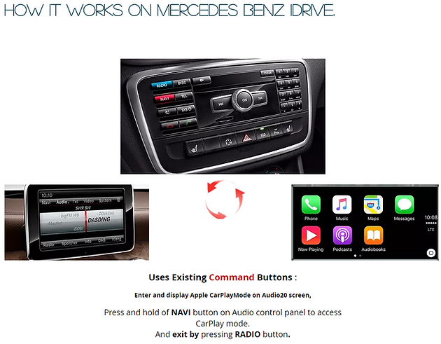 Apple CarPlay retrofit service for Mercedes Benz 2011 - 2015