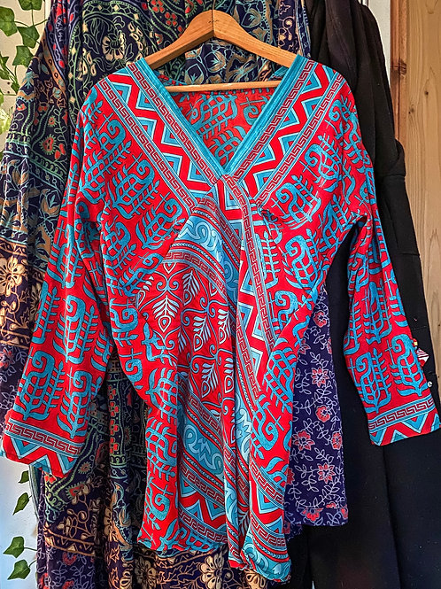 Recycled Sari Top in Red & Turquoise Paisley