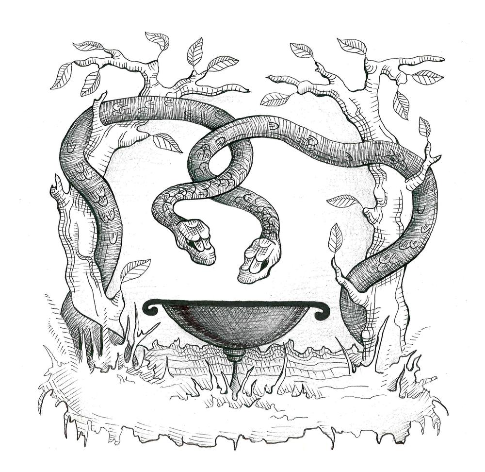 Анимационная картинка змея обвивает чашу
