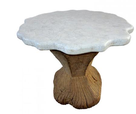 mesa casca de ovo com madeira antiga na base - CARLO