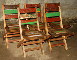 cadeira de madeira de barco dobravel