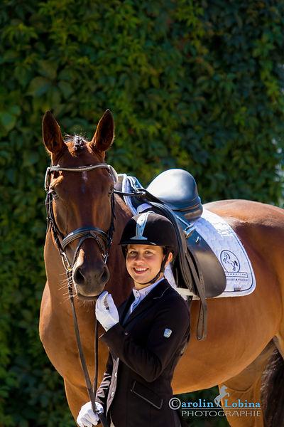 Pferd mir Reiter am Turnier, Carolin Lobina