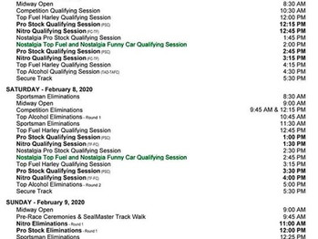 Schedule for the 62nd Lucas Oil NHRA WINTERNATIONALS!