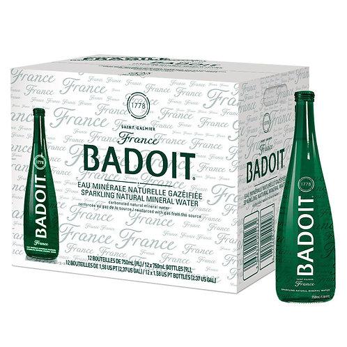 Badoit Sparkling Mineral Water, 25.4-oz. (750 ml) Case of 12 Glass Bottles