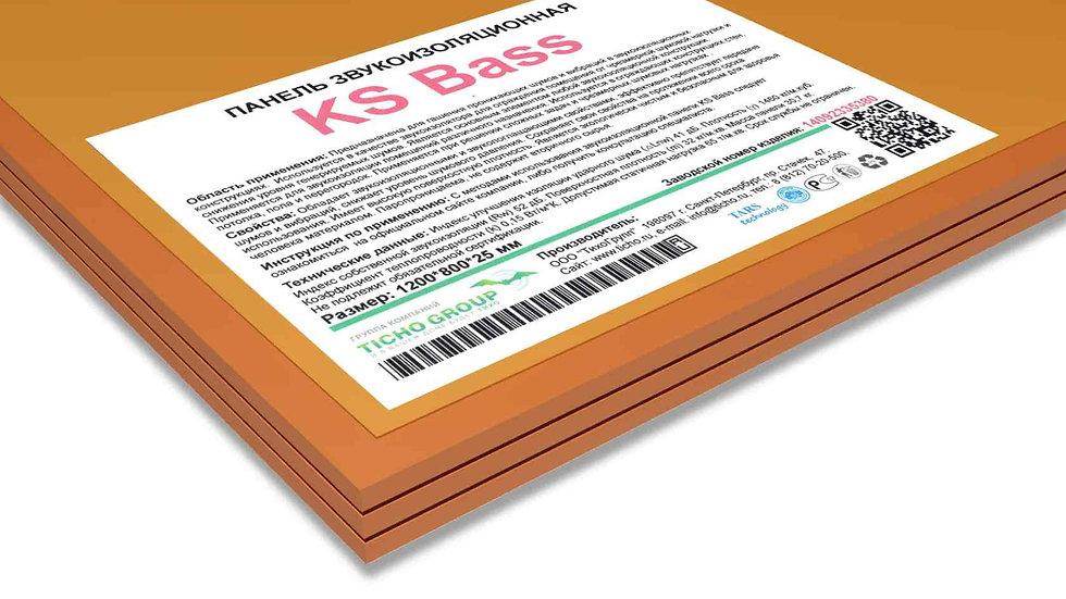 KS Bass панель звукоизоляционная;  размеры 1200*800*25 мм  вес 30,7 кг