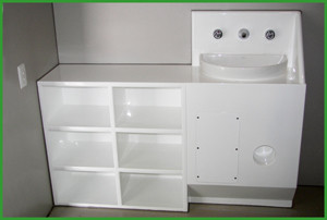 Prison Vanity with Shelving